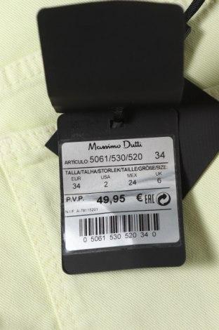 Дамски дънки Massimo Dutti, Размер XS, Цвят Зелен, 98% памук, 2% еластан, Цена 22,00лв.
