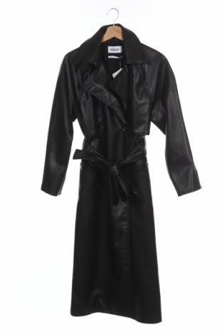 Дамски кожен шлифер Weekday, Размер XS, Цвят Черен, Еко кожа, Цена 84,00лв.