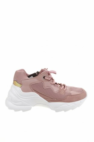 Дамски обувки Zara, Размер 37, Цвят Розов, Текстил, еко кожа, естествен велур, Цена 27,25лв.