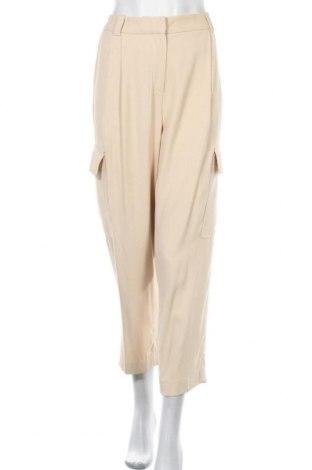 Дамски панталон Massimo Dutti, Размер L, Цвят Бежов, Вискоза, Цена 37,44лв.
