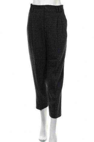 Дамски панталон Zara, Размер L, Цвят Сив, 81% вискоза, 16% акрил, 3% еластан, Цена 27,75лв.