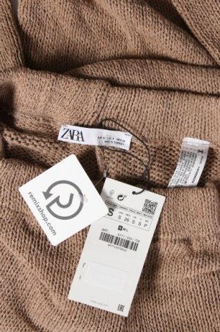 Дамски панталон Zara, Размер S, Цвят Бежов, 85% акрил, 15% лен, Цена 15,51лв.