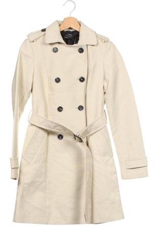 Дамски шлифер Zara, Размер XS, Цвят Бежов, 48% полиестер, 44% памук, 8% полиамид, Цена 55,86лв.