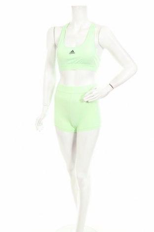 Дамски спортен комплект Adidas, Размер S, Цвят Зелен, 86% полиакрил, 14% еластан, Цена 42,57лв.