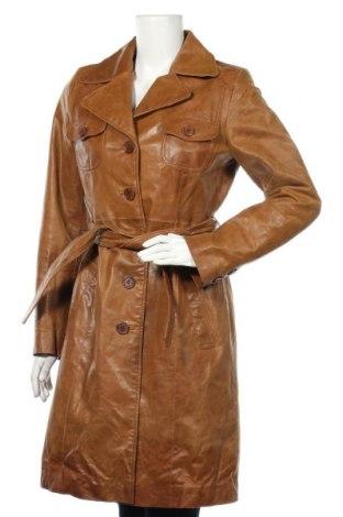 Palton din piele pentru damă, Mărime M, Culoare Maro, Piele naturală, Preț 274,55 Lei