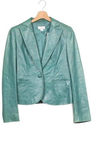Γυναικείο δερμάτινο σακάκι Loft By Ann Taylor, Μέγεθος XS, Χρώμα Πράσινο, Γνήσιο δέρμα, Τιμή 15,98€