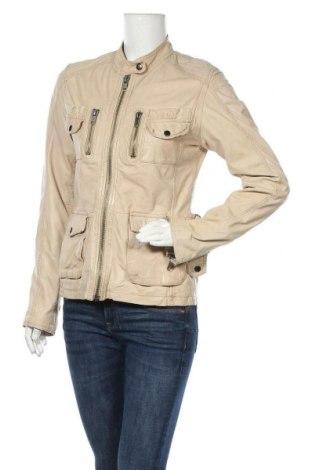 Дамско кожено яке, Размер M, Цвят Бежов, Естествена кожа, Цена 24,15лв.
