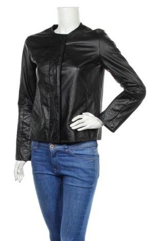 Дамско кожено яке Max Studio, Размер S, Цвят Черен, Естествена кожа, Цена 132,72лв.