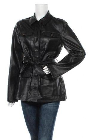 Дамско кожено яке Topshop, Размер M, Цвят Черен, Еко кожа, Цена 35,55лв.