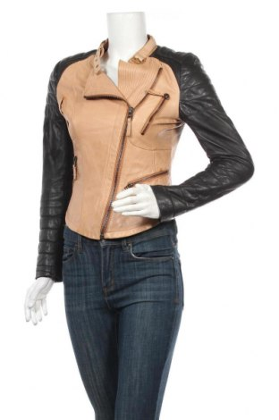 Дамско кожено яке Zara, Размер S, Цвят Бежов, Естествена кожа, Цена 68,83лв.