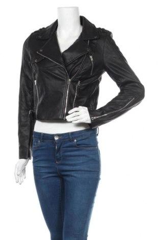 Geacă de piele pentru femei Zara Trafaluc, Mărime M, Culoare Negru, Piele ecologică, Preț 163,80 Lei