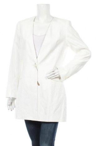 Дамско палто Massimo Dutti, Размер L, Цвят Екрю, 54% лен, 45% памук, 1% еластан, Цена 111,60лв.