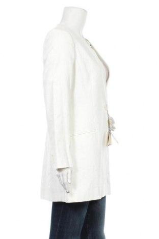 Дамско палто Massimo Dutti, Размер L, Цвят Екрю, 54% лен, 45% памук, 1% еластан, Цена 209,25лв.