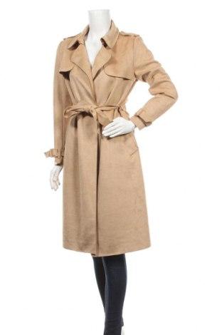 Дамско палто Zara, Размер S, Цвят Бежов, 87% полиестер, 13% еластан, Цена 53,87лв.