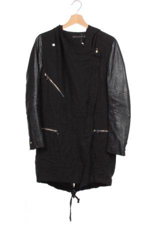 Дамско яке Zara, Размер XS, Цвят Черен, Вискоза, еко кожа, Цена 55,86лв.