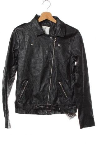 Детско кожено яке H&M, Размер 14-15y/ 168-170 см, Цвят Черен, Еко кожа, Цена 30,24лв.
