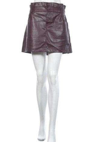 Fustă de piele Zara, Mărime XL, Culoare Roșu, Piele ecologică, Preț 292,76 Lei
