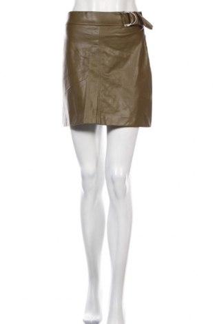 Fustă de piele Zara, Mărime S, Culoare Verde, Piele ecologică, Preț 226,97 Lei