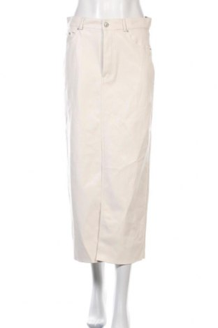 Fustă de piele Zara, Mărime L, Culoare Ecru, Piele ecologică, Preț 190,79 Lei