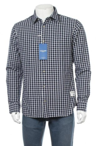 Ανδρικό πουκάμισο Jack & Jones, Μέγεθος L, Χρώμα Μπλέ, 100% βαμβάκι, Τιμή 21,34€