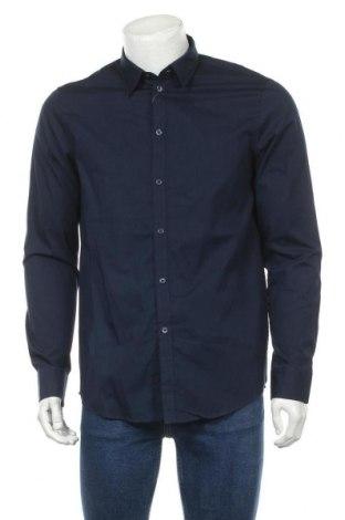 Мъжка риза Pier One, Размер M, Цвят Син, Памук, Цена 33,63лв.