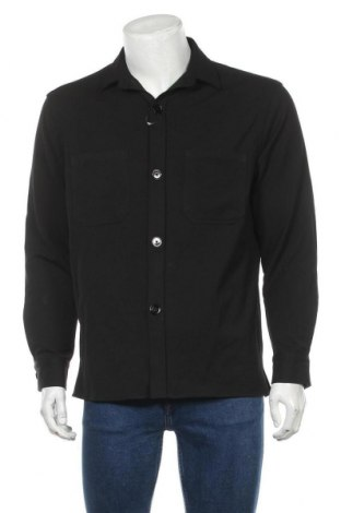 Мъжка риза Zara, Размер M, Цвят Черен, 63% полиестер, 32% вискоза, 5% еластан, Цена 13,12лв.