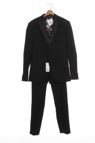 Мъжки костюм Isaac Dewhirst, Размер M, Цвят Черен, 66% полиестер, 32% вискоза, 2% еластан, Цена 141,75лв.