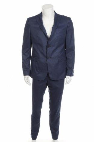 Costum de bărbați Sondag & Sons, Mărime L, Culoare Albastru, 64% poliester, 34% viscoză, 2% elastan, Preț 396,21 Lei