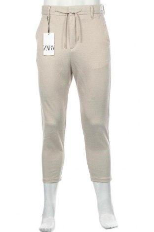 Мъжки панталон Zara, Размер M, Цвят Бежов, 78% полиестер, 22% памук, Цена 55,00лв.
