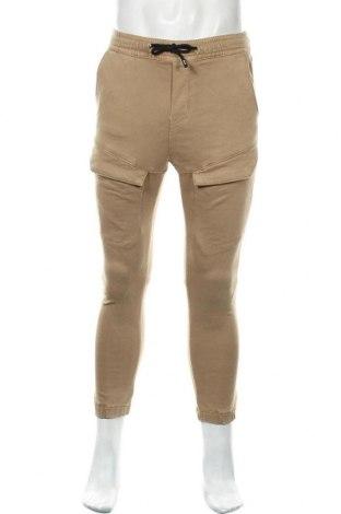 Мъжки панталон Zara, Размер S, Цвят Бежов, 77% памук, 21% полиестер, 2% еластан, Цена 49,00лв.