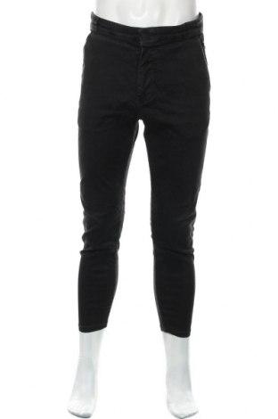 Мъжки панталон Zara, Размер L, Цвят Черен, 76% памук, 20% полиестер, 4% еластан, Цена 55,00лв.