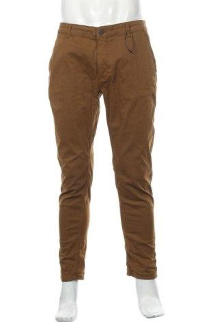 Мъжки панталон Zara Man, Размер L, Цвят Кафяв, 98% памук, 2% еластан, Цена 55,00лв.