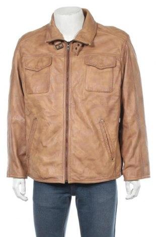 Мъжко кожено яке Angelo Litrico, Размер XL, Цвят Бежов, Естествена кожа, Цена 28,77лв.