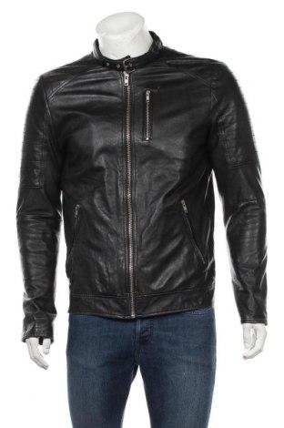 Pánská kožená bunda  Jack & Jones, Velikost M, Barva Černá, Pravá kůže, Cena  1802,00Kč
