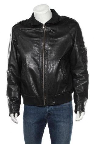 Мъжко кожено яке Zara Man, Размер XL, Цвят Черен, Естествена кожа, Цена 73,50лв.