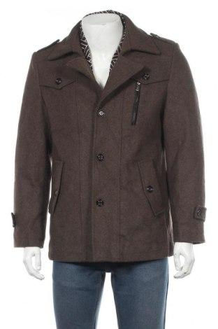 Мъжко палто, Размер XL, Цвят Кафяв, 55% полиестер, 45% вълна, Цена 51,03лв.