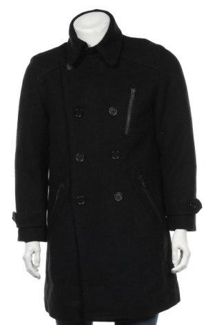 Мъжко палто H&M, Размер L, Цвят Черен, 55% вълна, 45% вискоза, Цена 39,21лв.