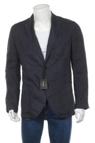 Мъжко сако Massimo Dutti, Размер L, Цвят Син, Лен, Цена 83,22лв.