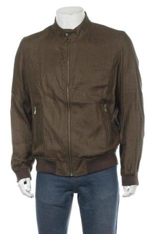 Мъжко яке Massimo Dutti, Размер XL, Цвят Зелен, Лен, Цена 112,05лв.