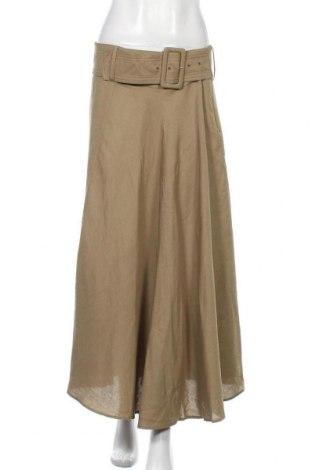 Fustă Zara, Mărime L, Culoare Verde, 60% viscoză, 40% in, Preț 194,08 Lei