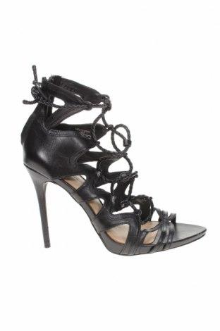 Сандали Zara, Размер 37, Цвят Черен, Естествена кожа, Цена 44,25лв.