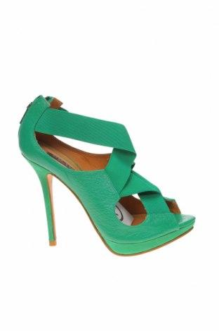 Сандали Zara, Размер 38, Цвят Зелен, Естествена кожа, Цена 26,55лв.