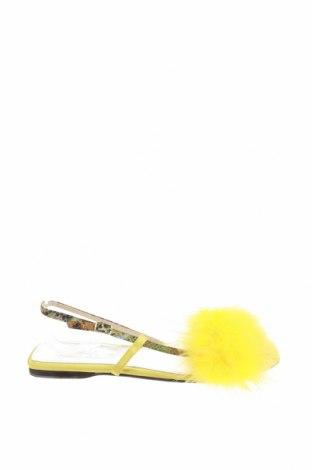 Σανδάλια Zara, Μέγεθος 40, Χρώμα Κίτρινο, Γνήσιο δέρμα, φυσικά φτερά, Τιμή 33,71€