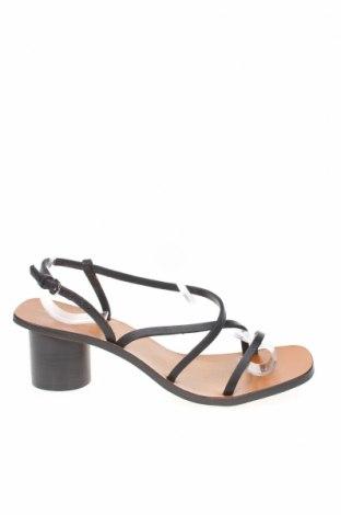 Сандали Zara, Размер 38, Цвят Черен, Естествена кожа, Цена 17,82лв.