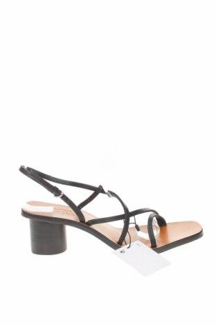 Сандали Zara, Размер 38, Цвят Черен, Естествена кожа, Цена 27,25лв.