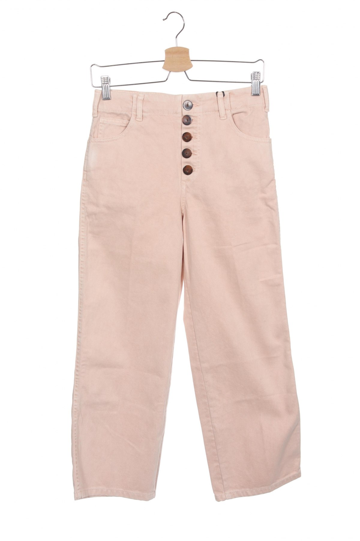 Дамски дънки Massimo Dutti, Размер S, Цвят Розов, Памук, Цена 39,16лв.