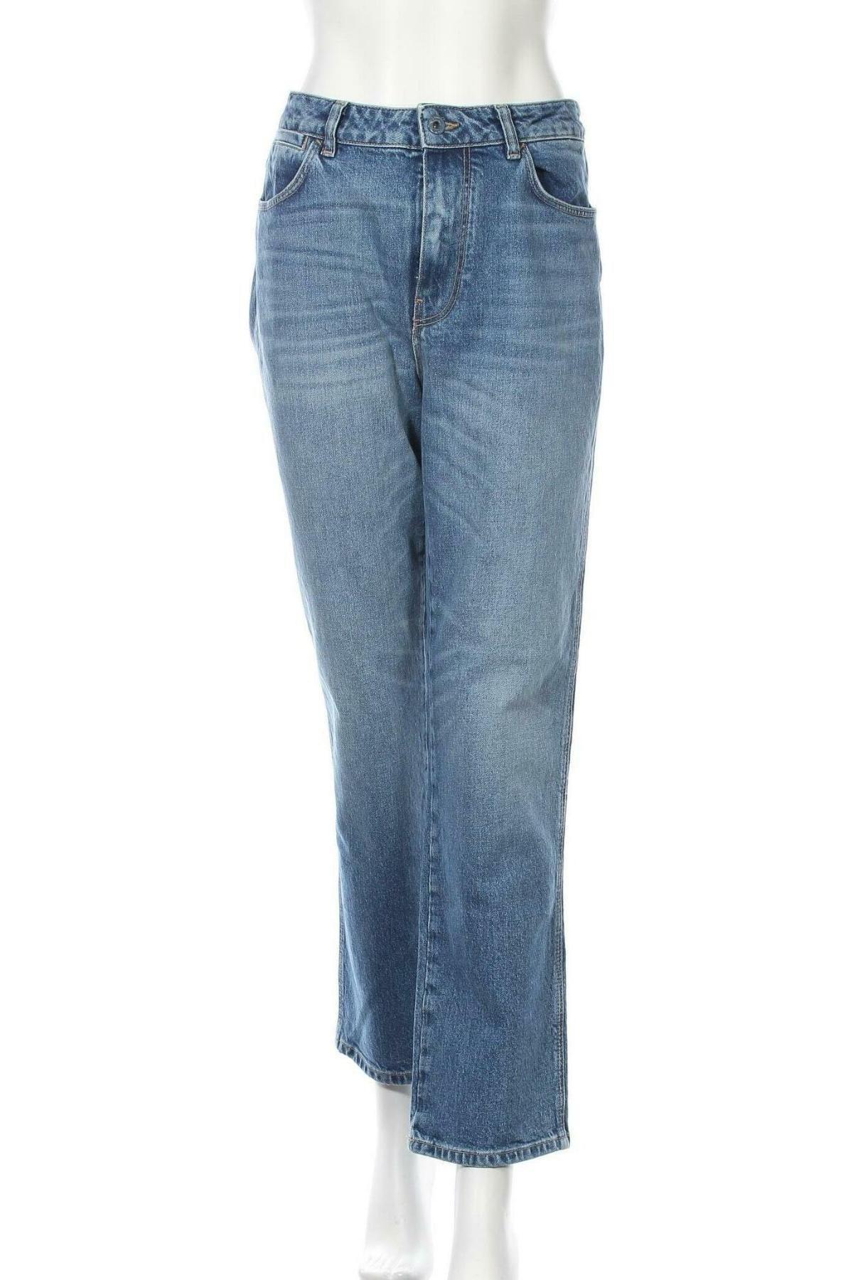 Дамски дънки Massimo Dutti, Размер L, Цвят Син, 99% памук, 1% еластан, Цена 52,51лв.