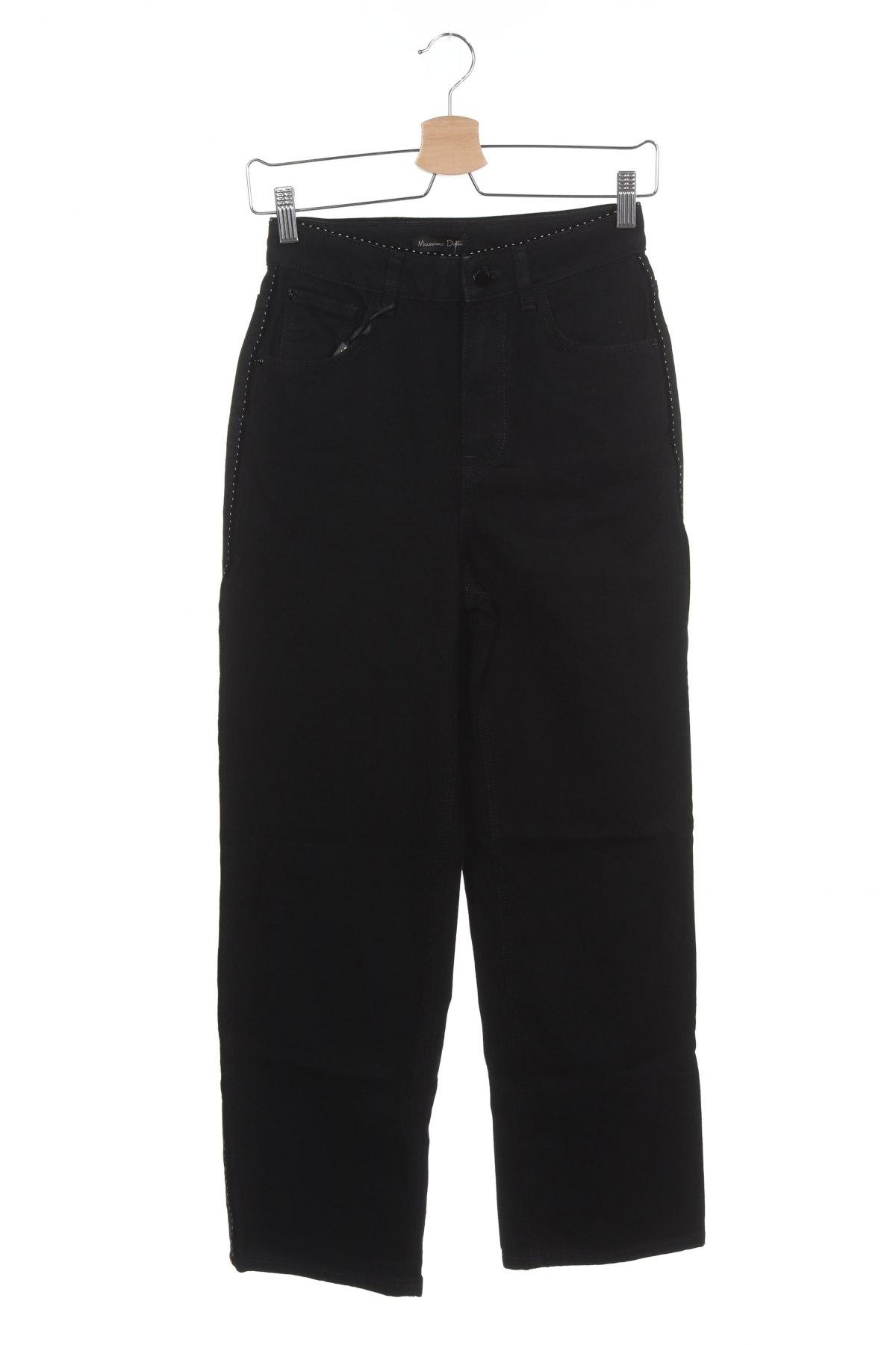 Дамски дънки Massimo Dutti, Размер XS, Цвят Черен, Памук, Цена 31,53лв.