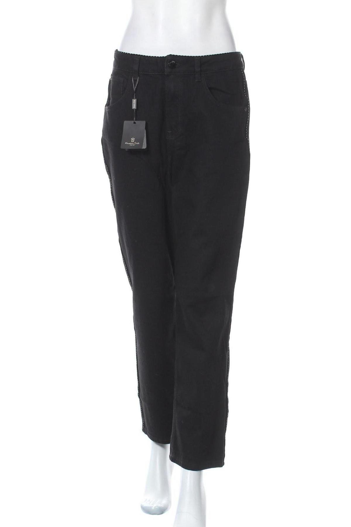 Дамски дънки Massimo Dutti, Размер L, Цвят Черен, Памук, Цена 31,53лв.