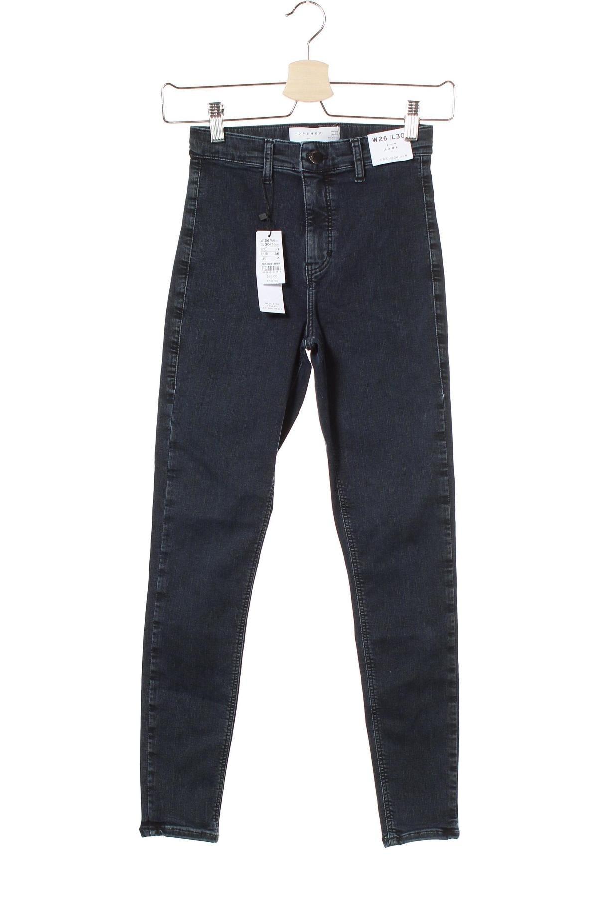 Дамски дънки Topshop, Размер S, Цвят Син, 72% памук, 24% полиестер, 4% еластан, Цена 66,75лв.